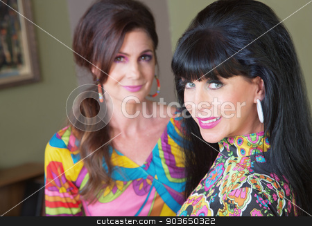 Pair of Retro Women stock photo, Two cute smiling mature women in 1960s fashion by Scott Griessel