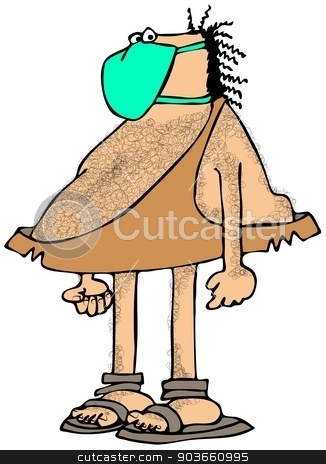 Caveman wearing a face mask stock photo, This illustration depicts a caveman wearing a green surgical mask. by Dennis Cox