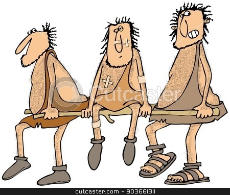 Injured caveman stock photo, This illustration depicts an injured caveman being carried on a stretcher by two friends. by Dennis Cox