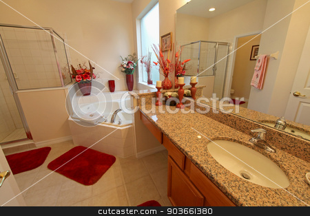 Master Bathroom stock photo, A Master Bathroom interior in a home by Lucy Clark