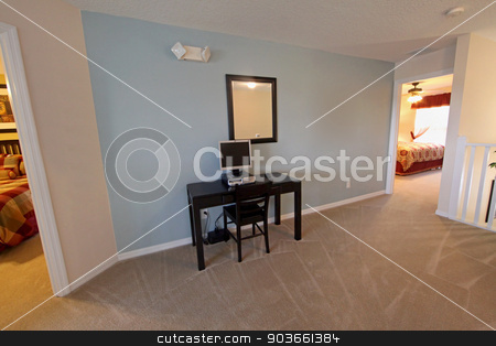 Home Office stock photo, A small home office in the interior of a home by Lucy Clark