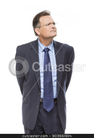 Handsome Businessman Looking Up and Over Isolated on White stock photo, Handsome Businessman Looking Up and Over Isolated on a White Background. by Andy Dean