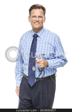 Handsome Smiling Male Doctor with Stethoscope on White stock photo, Handsome Smiling Male Doctor with Stethoscope Isolated on a White Background. by Andy Dean