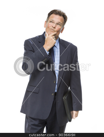 Businessman With Hand on Chin and Looking Up and Over stock photo, Handsome Businessman With Hand on Chin and Looking Up and Over Isolated on a White Background. by Andy Dean