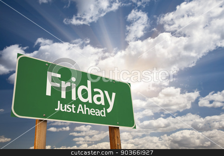 Friday Just Ahead Green Road Sign  stock photo, Friday Just Ahead Green Road Sign with Dramatic Clouds and Sky. by Andy Dean