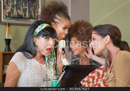 1960s Women on Land Line stock photo, Four cute middle aged women listening to telephone by Scott Griessel