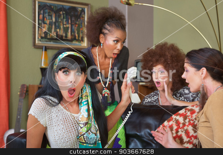 Shocked Ladies on Phone stock photo, Group of four retro ladies listening to telephone by Scott Griessel