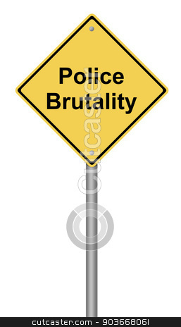 Police Brutality stock photo, Yellow warning sign with the text Police Brutality. by Henrik Lehnerer