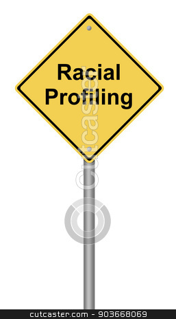 Racial Profiling stock photo, Yellow warning sign with the text Racial Profiling. by Henrik Lehnerer
