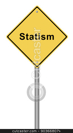 Statism stock photo, Yellow warning sign with the text Statism. by Henrik Lehnerer