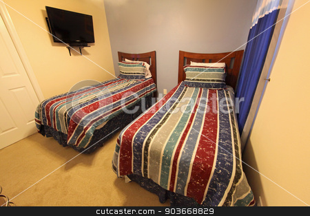 Twin Bedroom stock photo, A Twin Bedroom, interior of a home by Lucy Clark