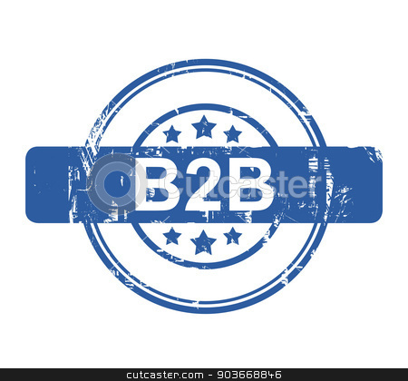 B2B business concept stamp stock photo, B2B business concept stamp with stars isolated on a white background. by Martin Crowdy