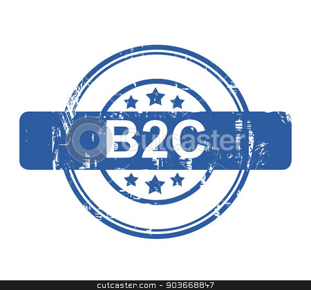 B2C business concept stamp stock photo, B2C business concept stamp with stars isolated on a white background. by Martin Crowdy