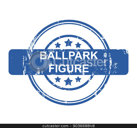 Ballpark figure business concept stamp stock photo, Ballpark figure business concept stamp with stars isolated on a white background. by Martin Crowdy