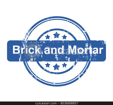 Brick and Mortar business concept stamp stock photo, Brick and Mortar business concept stamp with stars isolated on a white background. by Martin Crowdy