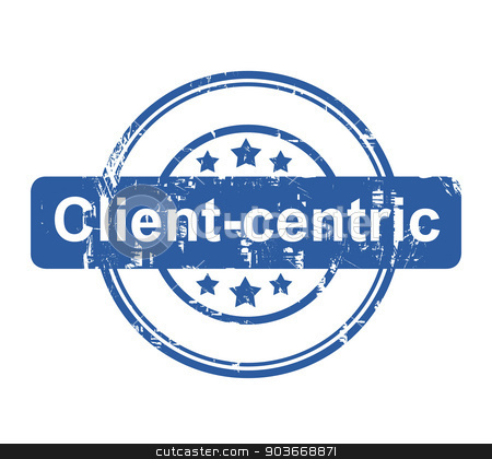 Client-centric business concept stamp stock photo, Client-centric business concept stamp with stars isolated on a white background. by Martin Crowdy