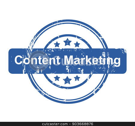 Content Marketing business concept stamp stock photo, Content Marketing business concept stamp with stars isolated on a white background. by Martin Crowdy