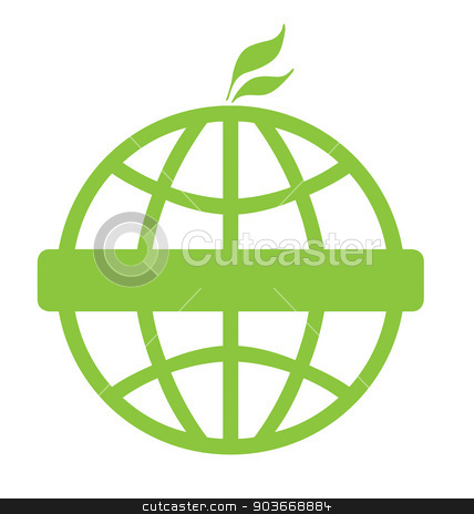 Eco green global icon stock photo, Eco green global icon isolated on a white background with copy space. by Martin Crowdy