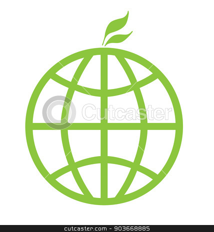 Eco green global icon stock photo, Eco green global icon isolated on a white background. by Martin Crowdy