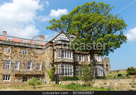 English stately home stock photo, Scenic view of an English stately home with blue sky and cloudscape background. by Martin Crowdy