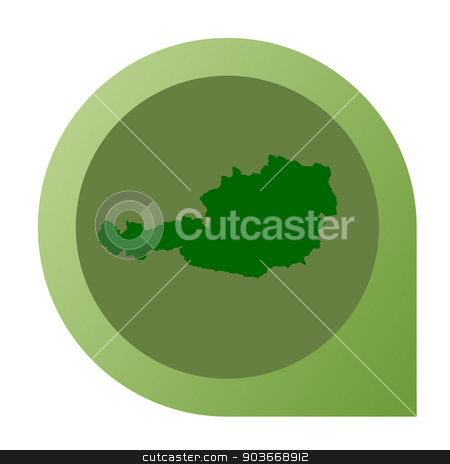 Isolated Austria map marker pin stock photo, Isolated Austria map marker pin in flat web design style. by Martin Crowdy