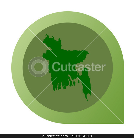 Isolated Bangladesh map marker pin stock photo, Isolated Bangladesh map marker pin in flat web design style. by Martin Crowdy