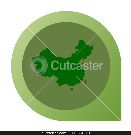 Isolated China map marker pin stock photo, Isolated China map marker pin in flat web design style. by Martin Crowdy