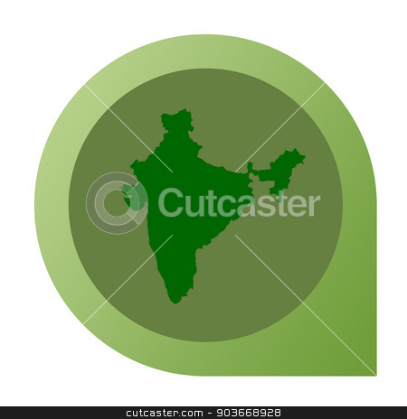 Isolated India map marker pin stock photo, Isolated India map marker pin in flat web design style. by Martin Crowdy