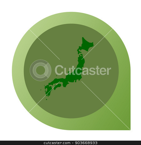 Isolated Japan map marker pin stock photo, Isolated Japan map marker pin in flat web design style. by Martin Crowdy