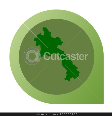 Isolated Laos map marker pin stock photo, Isolated Laos map marker pin in flat web design style. by Martin Crowdy