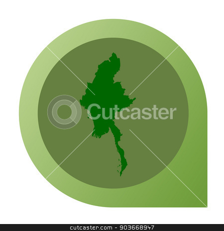 Isolated Myanmar map marker pin stock photo, Isolated Myanmar map marker pin in flat web design style. by Martin Crowdy