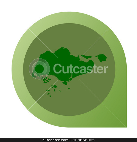 Isolated Singapore map marker pin stock photo, Isolated Singapore map marker pin flat web design style. by Martin Crowdy