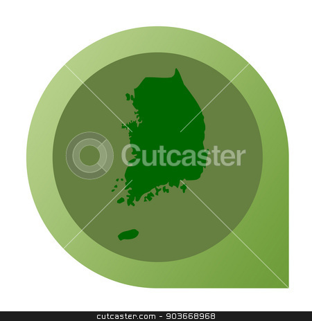 Isolated South Korea map marker pin stock photo, Isolated South Korea map marker pin flat web design style. by Martin Crowdy
