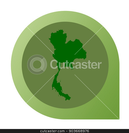 Isolated Thailand map marker pin stock photo, Isolated Thailand map marker pin flat web design style. by Martin Crowdy