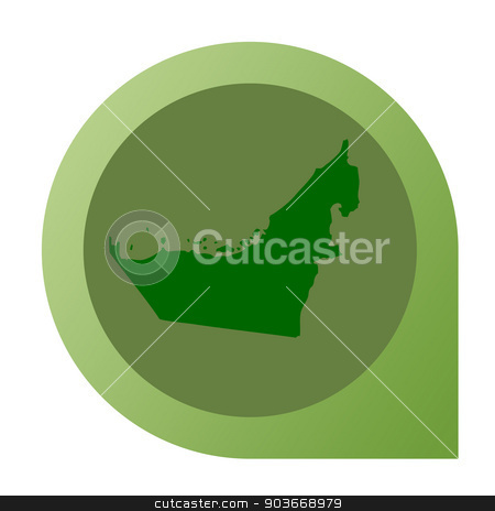Isolated United Arab Emirates map marker pin stock photo, Isolated United Arab Emirates map marker pin flat web design style. by Martin Crowdy