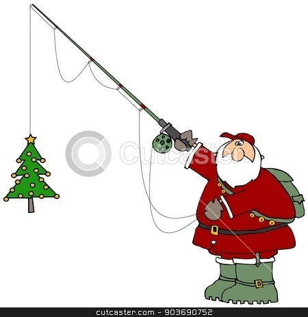 Santa catching a Christmas tree stock photo, This illustration depicts Santa Claus in boots and holding a fishing pole with a small decorated tree on the line. by Dennis Cox