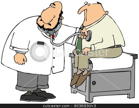 Doctor checking patient's heart stock photo, This illustration depicts a doctor using a stethoscope to check the heart rate of a patient on an exam table. by Dennis Cox