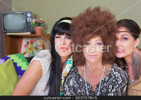 Cute Ladies Making Faces stock photo, Three cute women in 1960s fashion making faces by Scott Griessel
