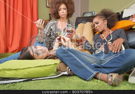 Sympathetic Friends with Drunk Lady stock photo, Three sad drunk women with whiskey and cigarettes by Scott Griessel