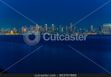 San Diego Skyline in Early Evening stock photo, San Diego Skyline at Early Evening from Harbor Island by Scott Griessel