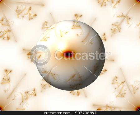 Golden Fractal Gloabe stock photo, Golden color fractal building a globe on white background. by Henrik Lehnerer
