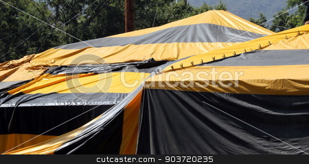 Fumigation Tent stock photo, Black and yellow termite fumigation tent over an house. by Henrik Lehnerer