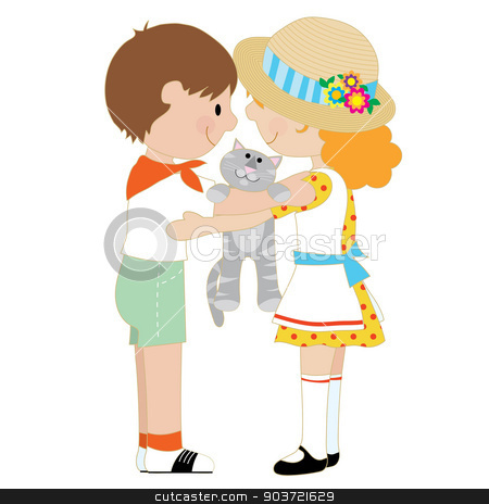 Kids and Kitten stock vector clipart, A pair of children, one boy and one girl, are hugging and holding a grey cat by Maria Bell