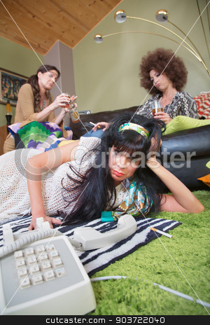 Pouting Lady with Friends stock photo, Pouting 1960s lady with friends and telephone by Scott Griessel