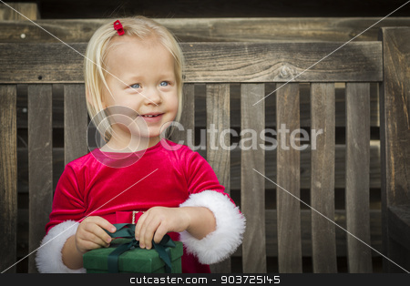 Adorable Little Girl Unwrapping Her Gift on a Bench stock photo, Adorable Little Girl Unwrapping Her Gift on a Bench Outside. by Andy Dean