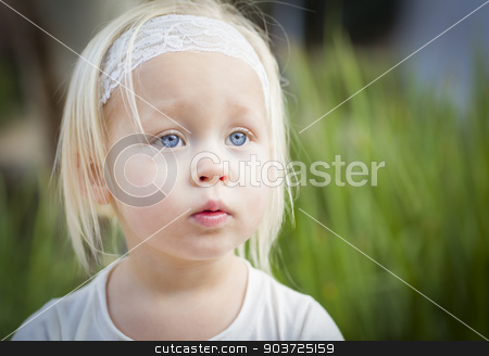 Adorable Little Girl Portrait Outside stock photo, Adorable Little Girl with Blue Eyes Portrait Outside. by Andy Dean