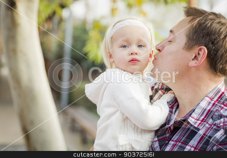 Adorable Little Girl with Her Daddy Portrait stock photo, Adorable Little Girl with Her Daddy Portrait Outside. by Andy Dean