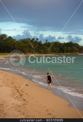 Woman on Kihei Beach stock photo, Woman Walking on Kihei Beach Near Sunset by Scott Griessel