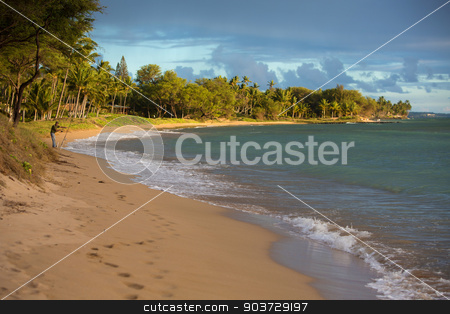 Kihei Beach with Distant Fisherman stock photo, Maui Kihei Beach with Distant Fisherman by Scott Griessel