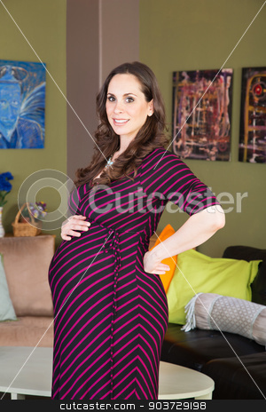 Beautiful Pregnant Woman stock photo, Beautiful smiling pregnant woman standing in room by Scott Griessel